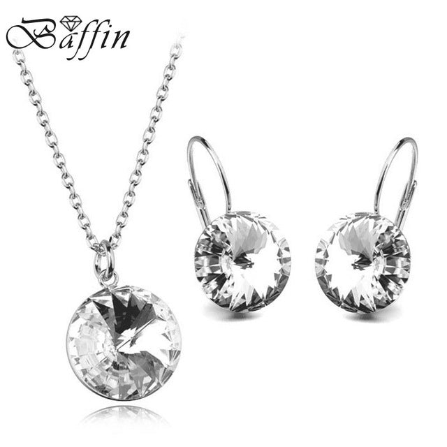 BAFFIN 2018 Original Crystals From SWAROVSKI Bella Jewelry Sets Round Pendant Necklaces Piercing Earrings For Women Wedding
