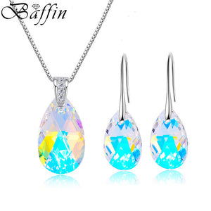 BAFFIN Genuine Crystals From SWAROVSKI Jewelry Sets Silver Color Waterdrop Pendant Necklace Dangle Earrings For Women Joyas 2018
