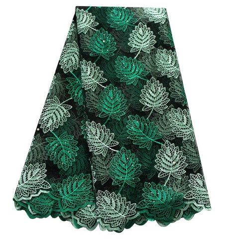 Ourwin African Lace Fabric Brads Nigerian Swiss Lace Fabric with Rhinestones 5 Yards/pieces Tulle Lace French Fabric for Dress