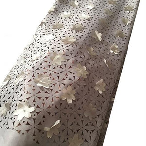 New arrival 3D flower laser cut lace fabric wholesale african nigerian lace