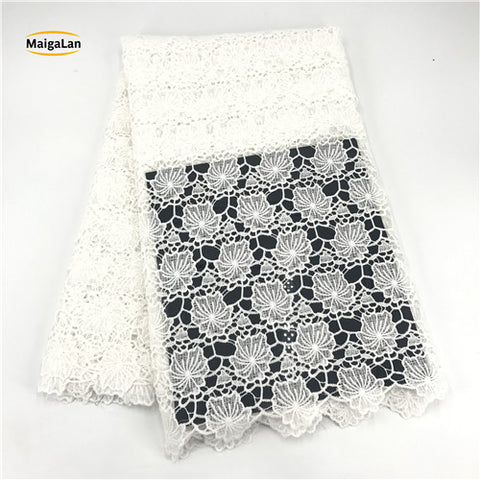 MAIGALAN New Arrival 100% Cotton Lace High quality nigerian wedding african lace fabric/ guipure cord lace fabric SML76-66