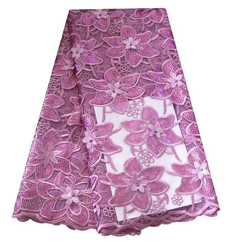Lilac 3D french lace fabric with flower embroidery sequins lace fabric high quality african net lace for asoebi party dress