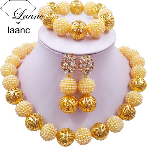 Laanc Simulated Pearl Beads African Jewelry Set 2017 Nigerian Wedding Necklace Sets Z6JQ002