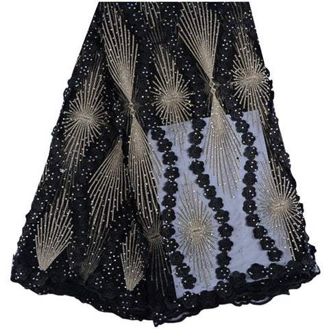 2018 New Style Black Color French Net Lace Fabric 3D Flower African Tulle Mesh Lace Fabric High Quality African Lace Fabric 999