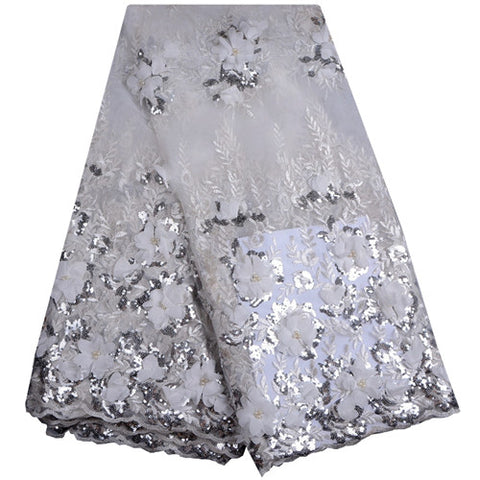 New Designs Nigerian Lace Fabrics African French Lace Fabric High Class 3D Lace Applique With Pearls And Sequins For Wedding 888