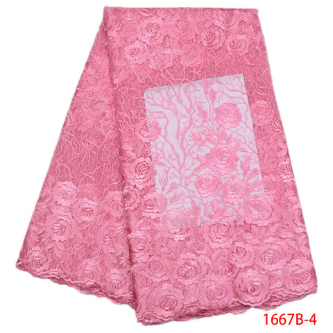 2018 New African Lace Fabric Baby Pink High Quality 3D Flower French Net Wedding Nigeria Embroidered Party Dress GD1667B-2