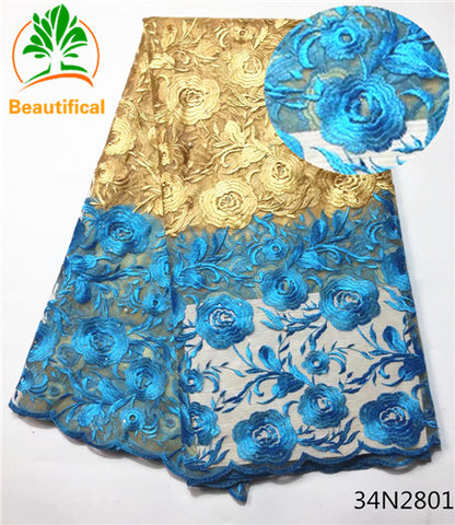 New Arrival African Lace Fabrics High Quality  Nigerian Beaded Lace Fabric 34N28 5 yd lots