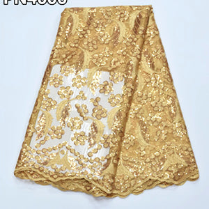 2017 Gold french lace fabric with sequins african lace fabric embroidered nigerian PN40