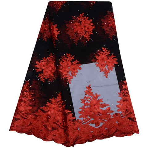 High Quality Latest African Laces Fabrics Embroidered African Tulle French Lace Fabric With Beaded