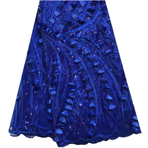 Fashion African Lace Fabric High Quality African 3D Lace Fabric With Sequins For Nigerian Wedding Dress French Lace Fabric