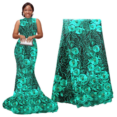 Ourwin New African Lace Fabric High Quality Indian Embroidery For Wedding Party Nigerian 5 yards / piece Lace Tulle Mesh Fabric