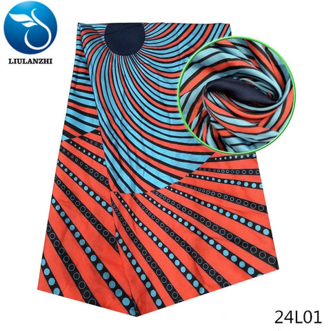 LIULANZHI African satin silk fabric multi color high quality 5yards 19 Patterns