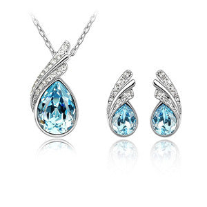 Wholesale kpop jewelry sets quartz crystal pendant Necklace Stud Earrings joyas made with SWAROVSKI Elements Anniversary
