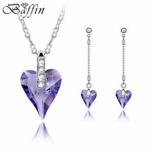 Fashion Jewelry sets Heart Necklace Dangle Earrings Made With SWAROVSKI Elements Crystals from SWAROVSKI for Women Engagement