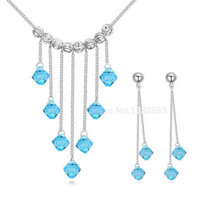 BAFFIN Wedding Jewelry Sets 100% Original Crystals From SWAROVSKI Tassel Pendant Maxi Necklaces Earrings For Women Fashion Joyas