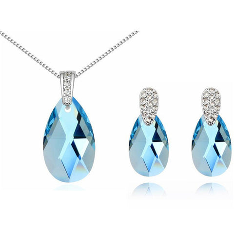 Austrian Crystal Necklace Earrings Water Drop Crystal From SWAROVSKI Women 2017 Jewelry Sets Fashion Bijouterie