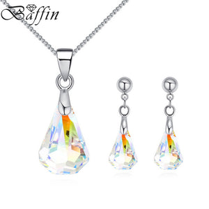BAFFIN Original Crystals From SWAROVSKI Raindrop Pendant Necklaces Piercing Earrings Jewelry Sets For Women Mother Gifts