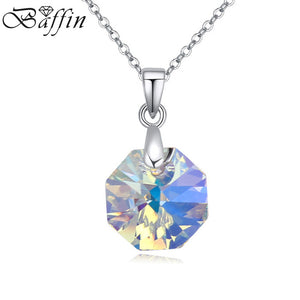 BAFFIN Cute Octagon Geometric Pendant Necklace Genuine Crystals From SWAROVSKI For 2017 Women Valentine's Day Gift