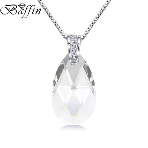 BAFFIN Original Crystals From Swarovski Elements Water Drop Pendant Necklace Silver Chain For Women Classic Jewelry 2018 Gifts