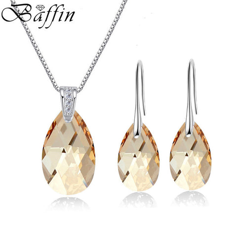 BAFFIN Water Drop Stones Jewelry Sets Genuine Crystals From Swarovski Silver Color Pendant Necklace Dangle Earrings For Women
