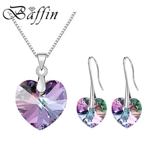 BAFFIN Original Crystals From Swarovski Heart Pendant Necklaces Drop Earrings Jewelry Sets For Women Lovers Gift Drop Shipping