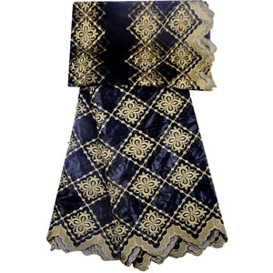 New Arrival Black Color African Bazin Riche Getzner Fabric With Beads Cord Lace Fabric African Guinea Brocade Fabric For Wedding