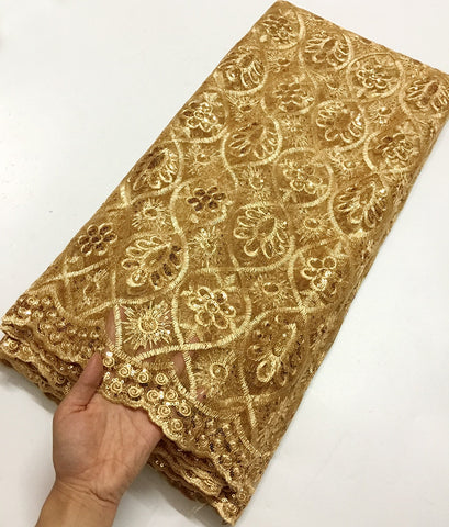 Fashion Gold African Lace Fabric High Quality French Lace Fabric Fashion tulle lace fabric for party dress net lace fabric