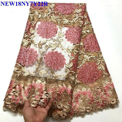 Embroidered African Lace Fabric High Quality with Rhinestone French Net Lace Guipure  Lace Fabrics FA8-02