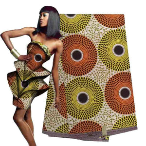 Ankara wax fabric latest style Pale yellow and brown African wax printed Nigerian fabric for lady dress&decoration  H16121539