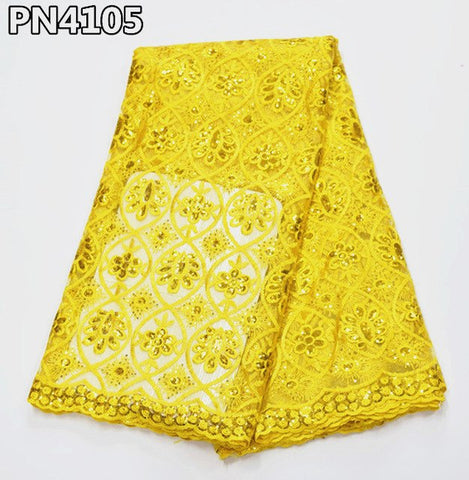 Crazy Sales French Lace 5yards African Sequins Lace Fabrics for Nigerian party Wholesale and Retail for Wedding PN41