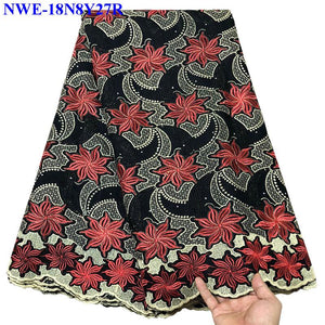 Black stones African Cotton Swiss Voile Lace Fabric High Quality Swiss Voile Lace In Switzerland Cotton African Lace Fabric A562