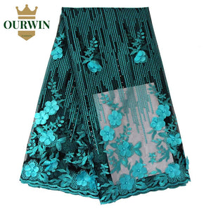 Latest High Quality African Tulle Lace Fabric 2018 Teal Black Aso Ebi Style Guipure Lace Fabric with 3d Lace Fabric Flowers