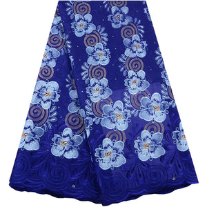 Nigerian Lace Fabrics Blue Color African Swiss Voile Lace High Quality French Swiss Voile Lace In Switzerland For Wedding
