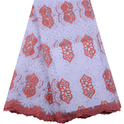 Embroidery Red Milk Silk Lace Fabric With Stones For Women Party & Wedding Dress New Arrival Milk Silk Tulle Net Laces