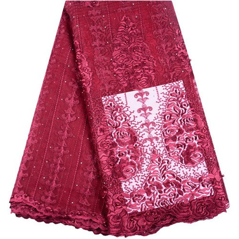 Nigerian Lace Fabric 2019 French Stones Net Lace Fabric Magenta Color High Quality African Beaded Tulle Lace Fabric