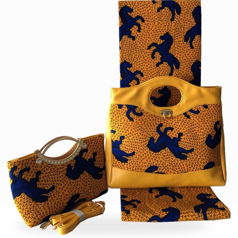 African wax bag set,high quality 100% cotton real hollandais wax fabric 6 yards with fashion handbag for church party HF021203