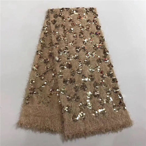 2018 African sequins tulle lace Hot new for Multi Color guipure african sequence cord lace fabric for Nigerian wedding dresses