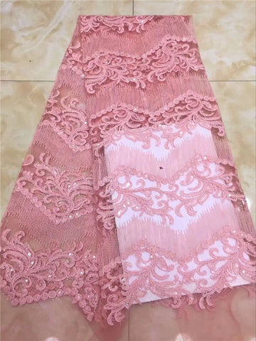 Latest French African Lace Fabric High Quality African Embroidered Tulle Lace Fabric For Wedding yellow pink