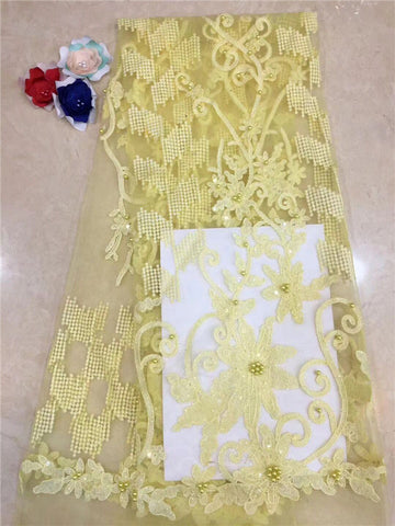 Nigerian Lace Fabric yellow High Quality African Tulle Lace Fabric With beads Sequins French Net Lace For Wedding Dress New