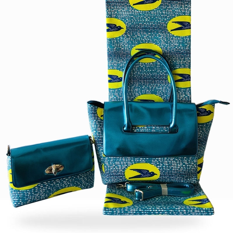 African bags for women handbag high quality wax bag set match Ankara african wax print fabric for women dresses 6 yard/lot HF011
