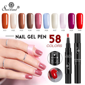 Saviland Newest 58 Colors Gel Nail Varnish Pen Glitter Nail Gel Polish Hybrid Dawdler UV Nail Art Gel Lacquer Gel Paint