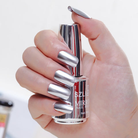 Titanium Nail Polish Durable Flow of Gold Non-peelable Metal Nail Art Quick Drying Nails Gel Polish Women Beauty 12 Colors