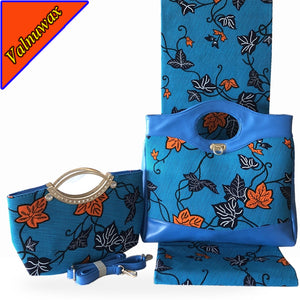New style african  wax hollandais hand bag matching 6 Yards Blue color african wax prints  wax hollandais fabric  -HF
