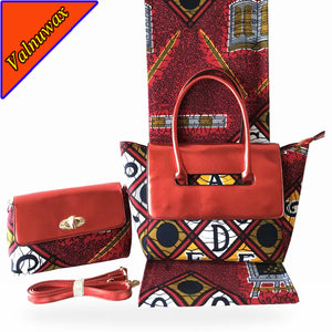 Red color african ankara  wax hollandais prints hand bag matching real dutch wax 6yards  Wax Hollandais fabric -HF