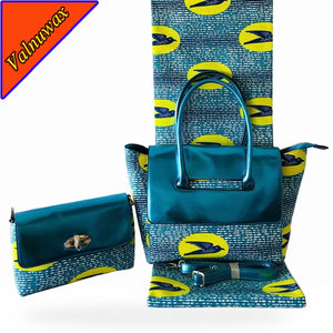 New Design Green African  Wax Hollandais Prints Hand bag + 6yards African  Wax Prints Fabric For Sewing Dress -HF