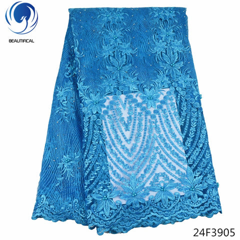 Beautifical beaded lace fabric tulle lace fabric material african lace fabric 2018 high quality lace sky blue wholesale 24F39