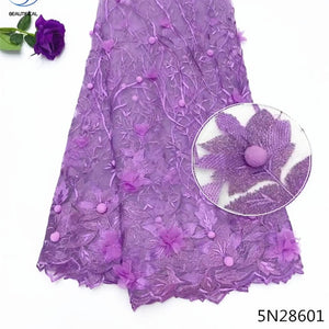 Beautifical latest 3d african laces 2018 pink 3d lace applique new french tulle lace fabric 2018 embroidered 5yards/piece 5N286