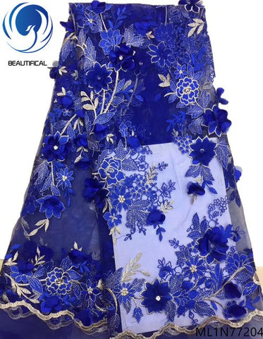 BEAUTIFICAL blue 3d flower laces fabrics african lace dress with rhinestones 2019 french lace for women 5yards/lot ML1N772