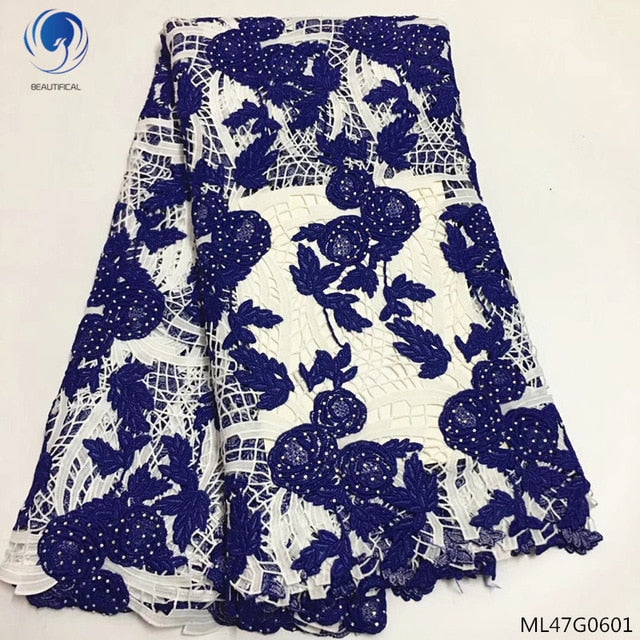 BEAUTIFICAL guipure lace fabrics 2019 high quality cord water soluble laces dress with stones lace dresss 5yards/lot ML47G06