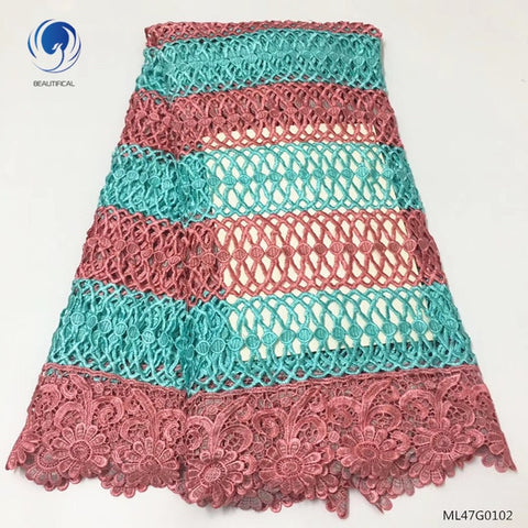 BEAUTIFICAL cord lace fabric high quality guipure laces fabrics water soluble laces fabric for women dress 5yards/lot ML47G01